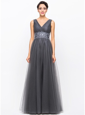 A-Line/Princess V-neck Floor-Length Taffeta Tulle Evening Dress With Ruffle Beading Appliques Lace Sequins