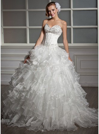 Ball-Gown Sweetheart Floor-Length Satin Organza Wedding Dress With Beading Sequins Cascading Ruffles