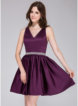 A-Line/Princess V-neck Short/Mini Satin Bridesmaid Dress With Beading