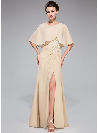 A-Line/Princess One-Shoulder Floor-Length Chiffon Mother of the Bride Dress With Ruffle Beading Sequins Split Front