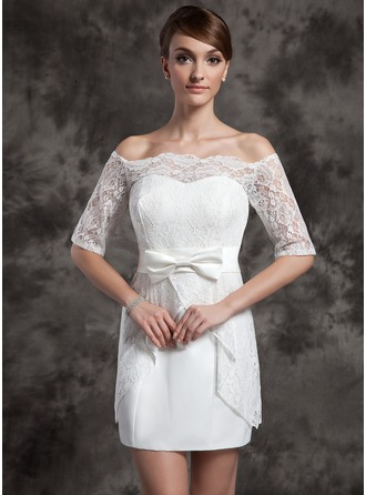 Sheath/Column Off-the-Shoulder Short/Mini Satin Lace Wedding Dress With Bow(s)