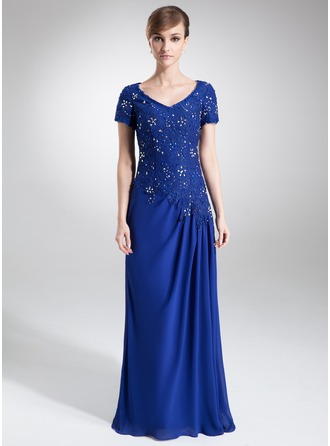 A-Line/Princess V-neck Sweep Train Chiffon Lace Mother of the Bride Dress With Beading Sequins