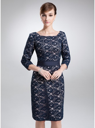 Sheath/Column Square Neckline Knee-Length Charmeuse Lace Mother of the Bride Dress