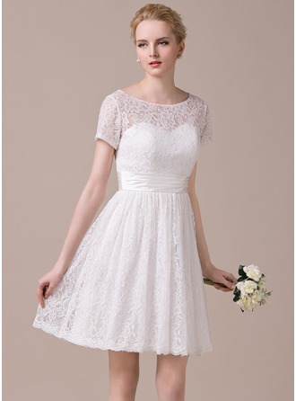 A-Line/Princess Scoop Neck Knee-Length Lace Wedding Dress With Ruffle