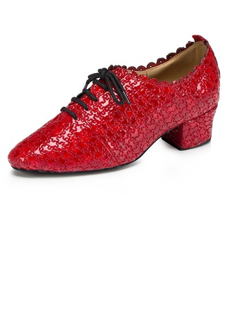 Women's Real Leather Flats Latin With Lace-up Dance Shoes