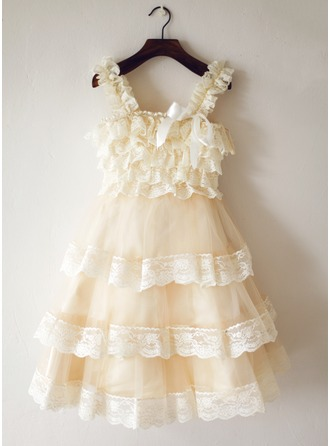 A-Line/Princess Knee-length Flower Girl Dress - Tulle/Lace Sleeveless Straps With Lace