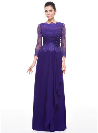 A-Line/Princess Scoop Neck Floor-Length Chiffon Lace Mother of the Bride Dress With Flower(s) Cascading Ruffles