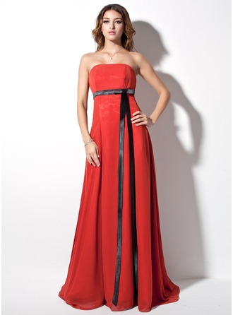 Empire Strapless Court Train Chiffon Charmeuse Evening Dress With Sash Bow(s)