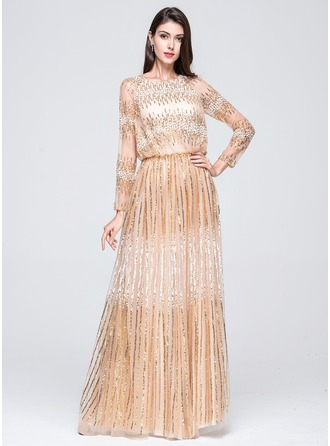 A-Line/Princess Scoop Neck Floor-Length Tulle Holiday Dress With Sequins