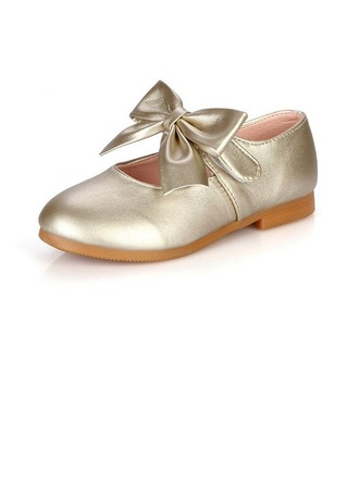 Girl's Leatherette Low Heel Closed Toe Flats With Bowknot