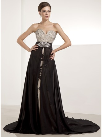 A-Line/Princess Sweetheart Chapel Train Chiffon Tulle Charmeuse Evening Dress With Beading Appliques Lace Sequins