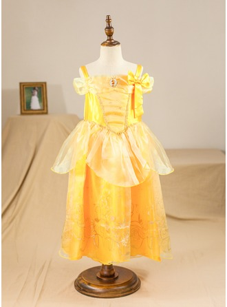 A-Line/Princess Tea-length Pageant Dresses - Satin/Tulle Sleeveless Straps With Flower(s)