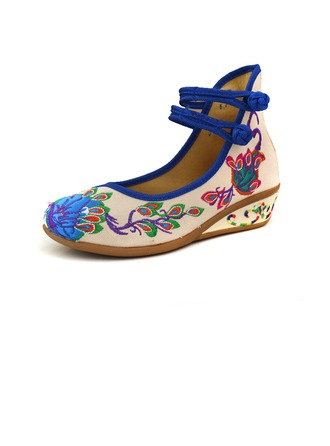 Women's Cloth Wedge Heel Flats Closed Toe With Applique Buckle shoes