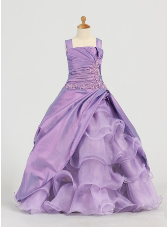 A-Line/Princess Square Neckline Floor-Length Taffeta Organza Flower Girl Dress With Lace Beading Sequins Cascading Ruffles