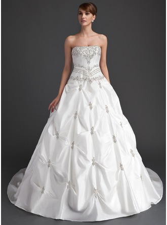 Ball-Gown Strapless Cathedral Train Taffeta Wedding Dress With Ruffle Beading
