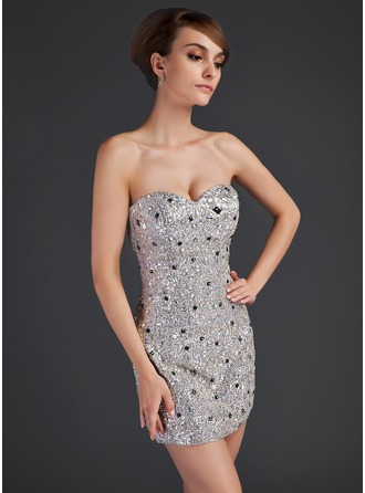 Sheath/Column Sweetheart Short/Mini Satin Sequined Cocktail Dress With Beading