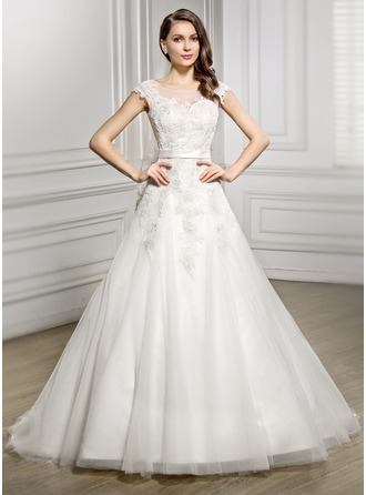 A-Line/Princess Scoop Neck Court Train Satin Tulle Lace Wedding Dress With Bow(s)