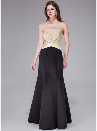 Trumpet/Mermaid Strapless Floor-Length Satin Evening Dress With Ruffle