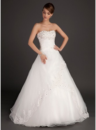 Ball-Gown Sweetheart Floor-Length Organza Satin Wedding Dress With Ruffle Lace Beading