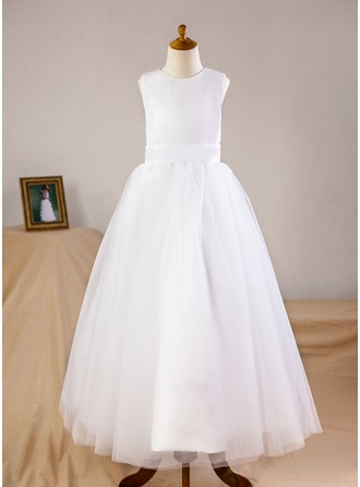 A-Line/Princess Floor-length Flower Girl Dress - Organza/Tulle Long Sleeves Scoop Neck (Wrap included)