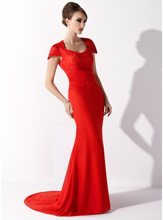 Trumpet/Mermaid Scoop Neck Court Train Chiffon Lace Mother of the Bride Dress