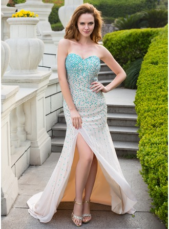 Trumpet/Mermaid Sweetheart Sweep Train Chiffon Prom Dress With Beading Sequins Split Front