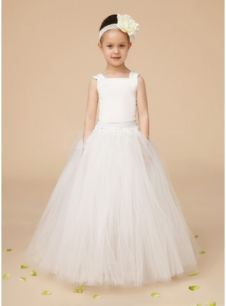 A-Line/Princess Square Neckline Floor-Length Charmeuse Tulle Flower Girl Dress With Ruffle Lace Beading Bow(s)