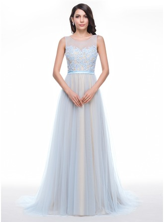 A-Line/Princess Scoop Neck Court Train Tulle Charmeuse Prom Dress With Lace Beading Sequins