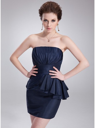 Sheath/Column Strapless Short/Mini Taffeta Cocktail Dress With Cascading Ruffles