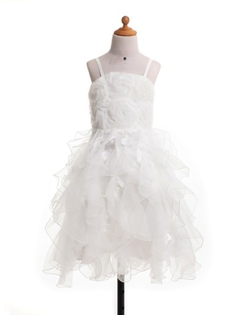 A-Line/Princess Knee-Length Satin Flower Girl Dress With Flower(s) Bow(s)