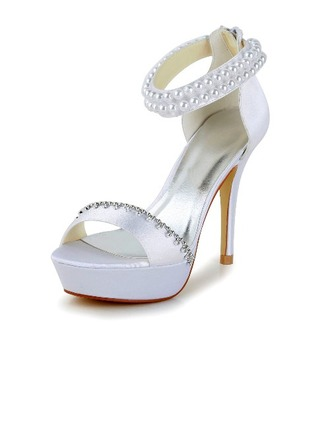 Femmes Satin Talon stiletto Escarpins Sandales avec Imitation perle Strass Zip