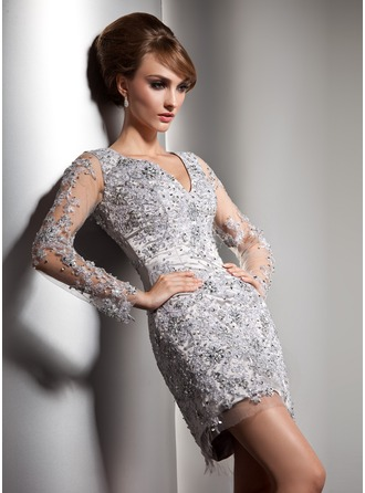 Sheath/Column V-neck Short/Mini Tulle Charmeuse Cocktail Dress With Lace Beading Sequins