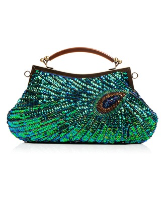 Shining Satin with Beading/Sequin Clutches/Wristlets