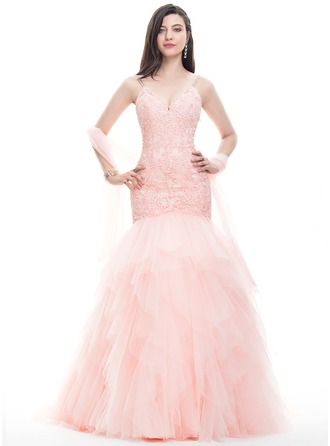 A-Line/Princess V-neck Sweep Train Tulle Lace Prom Dress With Beading