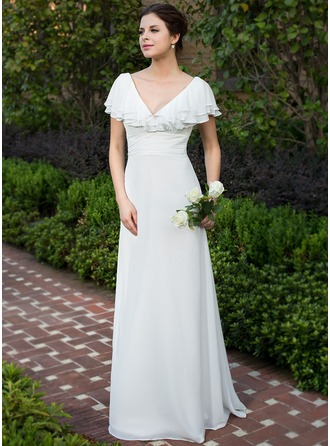 A-Line/Princess V-neck Floor-Length Chiffon Wedding Dress With Ruffle Cascading Ruffles