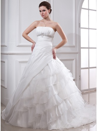 Ball-Gown Strapless Cathedral Train Taffeta Organza Wedding Dress With Beading Appliques Lace Cascading Ruffles