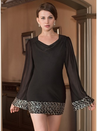 Forme Fourreau Col boule Court/Mini Mousseline Robe de cocktail avec Sequins