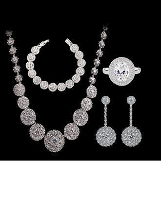 Unique Copper/Zircon/Platinum Plated Ladies' Jewelry Sets