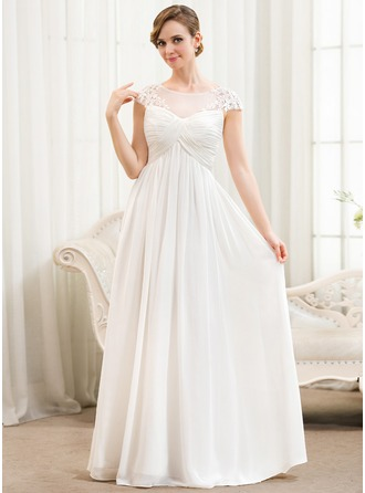 A-Line/Princess Scoop Neck Floor-Length Chiffon Tulle Wedding Dress With Ruffle Appliques Lace
