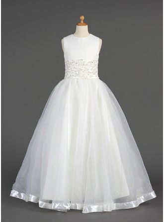 A-Line/Princess Scoop Neck Floor-Length Organza Flower Girl Dress With Lace Beading
