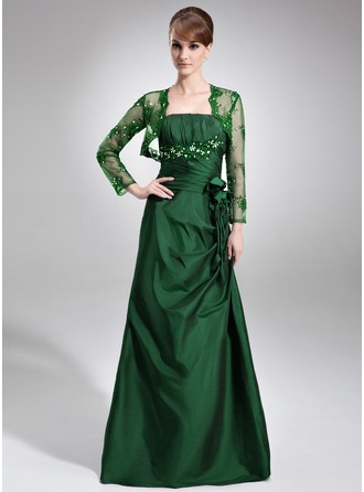 A-Line/Princess Strapless Floor-Length Taffeta Mother of the Bride Dress With Ruffle Lace Beading Flower(s)