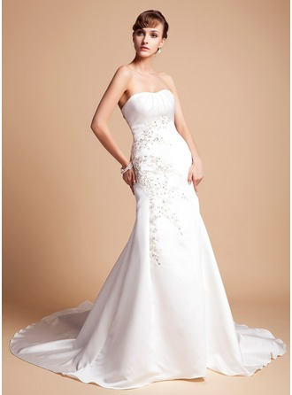 Trumpet/Mermaid Sweetheart Chapel Train Satin Wedding Dress With Embroidered Ruffle Beading Sequins