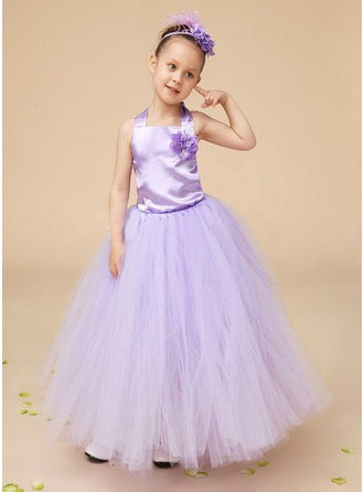 A-Line/Princess Square Neckline Floor-Length Charmeuse Tulle Flower Girl Dress With Flower(s) Bow(s)