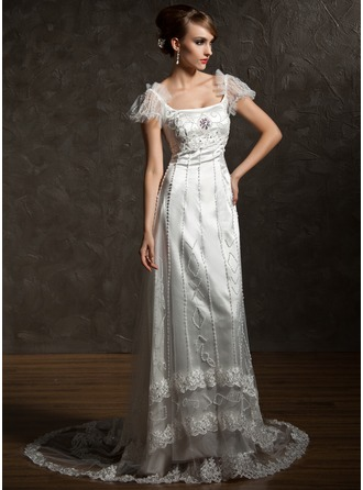 Sheath/Column Square Neckline Chapel Train Charmeuse Tulle Wedding Dress With Lace Beading Crystal Brooch