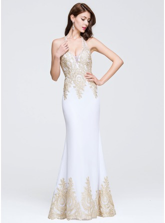 Trumpet/Mermaid Halter Floor-Length Prom Dress With Beading Appliques Lace