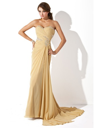 A-Line/Princess Sweetheart Sweep Train Chiffon Prom Dress With Ruffle Beading Sequins Split Front