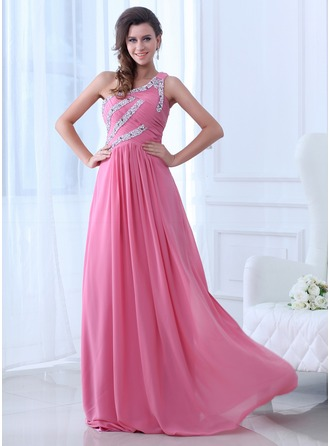 A-Line/Princess One-Shoulder Floor-Length Chiffon Evening Dress With Ruffle Beading