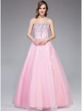 Ball-Gown Sweetheart Floor-Length Tulle Evening Dress With Lace Beading