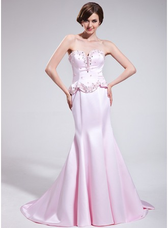 Trumpet/Mermaid Sweetheart Court Train Satin Evening Dress With Beading Appliques Lace