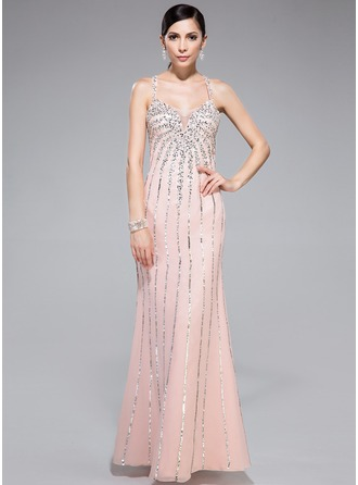 Trumpet/Mermaid Sweetheart Floor-Length Chiffon Tulle Prom Dress With Beading Sequins